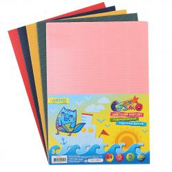 Набор цветного картона А4, 5л, 5 цветов, мелованный, гофрированный, без скрепления deVENTE 8040517