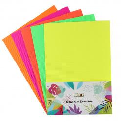 Набор цветного картона А4, 5л, 5 цветов, немелованный, гофрированный, без скрепления КОКОС 200740