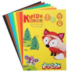 Набор цветного картона А4 7л 7цв мелованный двусторонний в папке Каляка-Маляка КЦДКМ07