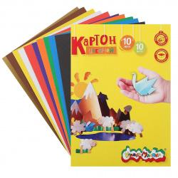 Набор цветного картона Обечайка А4, 10л, 10 цветов, немелованный, в папке Каляка-Маляка КЦКМ10_