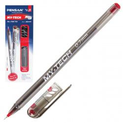 Ручка масляная, пишущий узел 0,7мм, игольчатая, цвет чернил красный MY-TECH Pensan 2240