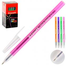 Ручка пишущий узел 0,7мм, цвет чернил синий, ассорти 4 вида Stick Neon Restyle Luxor 1230/48BX