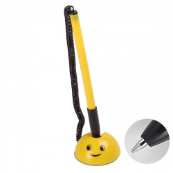 Ручка шар 0,5 наст на липучке желт корп Attomex с пласт шнур 5072602 син