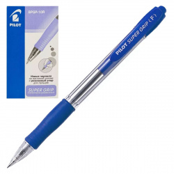 Ручка авт шар масл 0,7 прозр корп резин манжет Pilot Super grip BPGP-10R-F L син к/к