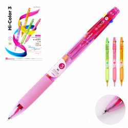 Ручка шар авт 3-х цв 0,7 тонир корп резин манжет MunHwa Hi-Color 3 290321 к/к ассорти