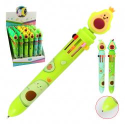 Ручка шариковая, автоматическая, 10 цветов, пишущий узел 0,7мм Авокадо Basir HLL-8108