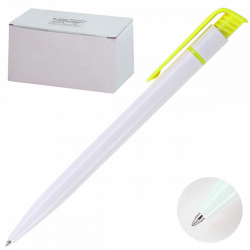 Ручка авт шар SPONSOR логот однор бел корп желт клип SLP013-YL/C06174 син к/к