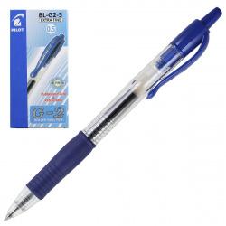 Ручка гел авт 0,5 прозр корп резин манжет Pilot BL-G2-5 L син к/к