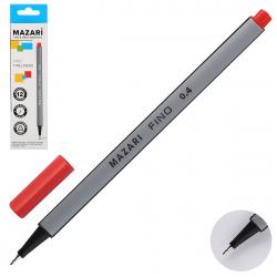 Ручка капиллярная 0,4 трехгранная Mazari Fino M-5300-72 красный европодвес картонная коробка