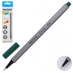 Ручка капиллярная 0,4 трехгранная Mazari Fino M-5300-73 зеленый европодвес картонная коробка