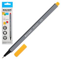 Ручка капиллярная 0,4 трехгранная Mazari Fino M-5300-78 желтый европодвес картонная коробка