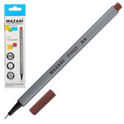 Ручка капиллярная 0,4 трехгранная Mazari Fino M-5300-85 коричневый европодвес картонная коробка