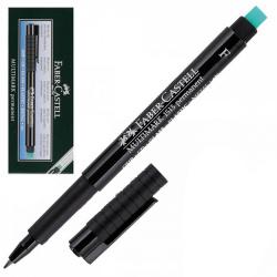 Ручка капиллярная 0,6 резиновая манжетка с ластиком Faber-Castell Multimark 151399 черный картонная коробка