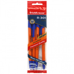 Набор шариковых ручек 1цв 4шт 0,7мм желтый корпус Erich Krause R-301 Orange Stick  22189 синие блист/уп