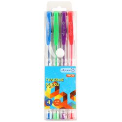 Набор гелевых ручек 4цв 4шт 0,5мм флуоресцентные прозрачный корпус резиновая манжетка Attomex 5051648 блист/уп