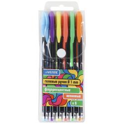 Набор гелевых ручек 6цв 6шт 1мм флуоресцентные черный корпус deVENTE Neon Black 5051812 пласт/уп