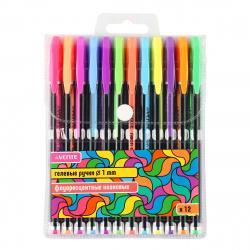 Набор гелевых ручек 12цв 12шт 1мм флуоресцентные чернный корпус deVENTE Neon Black 5051814 пласт/уп