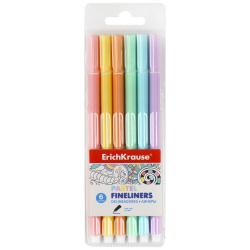 Набор линер-ручек 6цв 6шт 0,4мм трехгранный цветной корпус Erich Krause Pastel 50337 европодвес пласт/уп