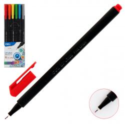 Набор капиллярных ручек 6цв 6шт 0,45мм трехгранный черный корпус Deli  LINKUS EQ900-06/1204877 европодвес пласт/уп