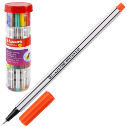Набор капиллярных ручек 20цв 20шт 0,8мм белый корпус Luxor Fine Writer 045 7120/20J пласт/уп
