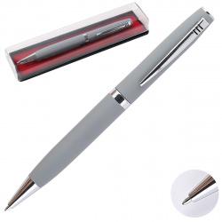 Ручка шариковая подарочная серый корпус поворотный механизм deVENTE Navigator 9021950 синяя пластиковая упаковка