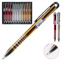 Ручка шариковая подарочная цветной корпус нажимной механизм deVENTE Ringo 9021804 синяя ассорти 3 вида