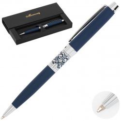 Ручка шариковая подарочная синий корпус поворотный механизм Manzoni Venezia с орнаментом VEN13-TM-B синяя картонный футляр