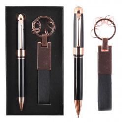Набор 2пр ручка, брелок 204012 KLERK черн/медь