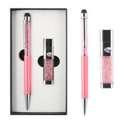 Набор 2пр ручка, USB-флеш-накопитель 16Gb 204020 KLERK розовый