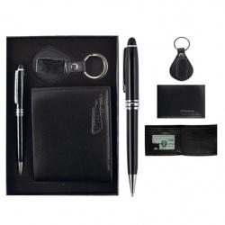 Набор 3пр ручка, брелок, портмоне к/з 185324 KLERK черн