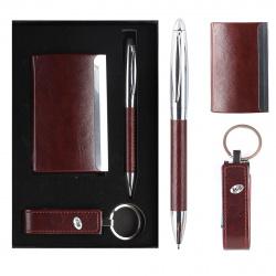 Набор 3пр ручка, визитница, USB-флеш-накопитель 8Gb 204014 KLERK корич
