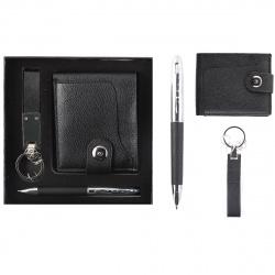 Набор подарочный 3 предмета, ручка шариковая, брелок, портмоне, цвет черный, упаковка подарочная коробка KLERK 204019