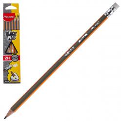 Карандаш 2Н деревянный трехгранный заточенный с ластиком Maped Black pep's 851723