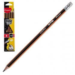 Карандаш В деревянный трехгранный заточенный с ластиком Maped Black pep's 851724