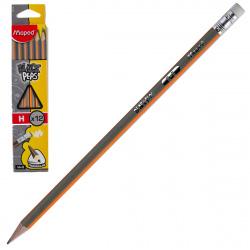Карандаш Н деревянный трехгранный заточенный с ластиком Maped Black pep's 851725