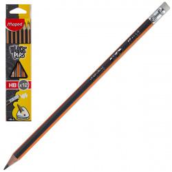Карандаш НВ деревянный трехгранный заточенный с ластиком Maped Black pep's 851721