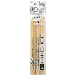 Набор карандашей 6шт, ассорти, дерево, шестигранный, ПВХ Воскресенская карандашная фабрика 6P-1240