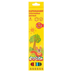 Карандаши цветные 6цв Каляка-Маляка трехгранные КТКМ06 европодвес картонная коробка