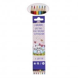Карандаши цветные пластиковые 6цв deVENTE Домашние любимцы шестигранные 5021608 европодвес картонная коробка