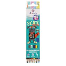 Карандаши цветные пластиковые 6цв Attomex Dino World шестигранные 5021610 европодвес картонная коробка