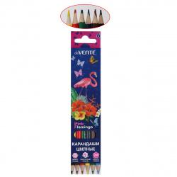 Карандаши цветные 6цв deVENTE Flamingo шестигранные 5021002 европодвес картонная коробка