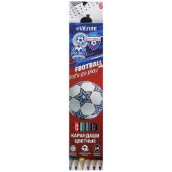 Карандаши цветные 6 цветов, дерево, шестигранный Play Football deVENTE 5021105