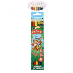 Карандаши цветные 6цв Creativiki шестигранные КЦ06КР европодвес картонная коробка