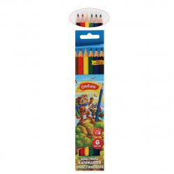 Карандаши цветные пластиковые 6цв Creativiki шестигранные ЦКП06КР европодвес картонная коробка
