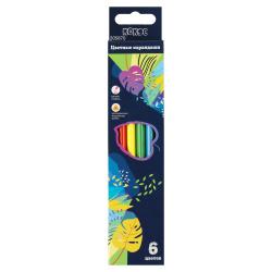 Карандаши цветные 6цв КОКОС Листья трехгранные 205870 европодвес картонная коробка