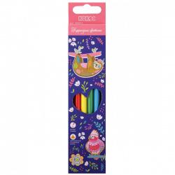 Карандаши цветные 6цв КОКОС Ленивец трехгранные 205872 европодвес картонная коробка
