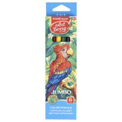 Карандаши цветные 6 цветов, дерево, трехгранный, утолщенные Джамбо ArtBerry Jumbo Erich Krause 32473