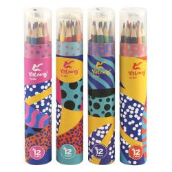 Карандаши цветные 12 цветов, дерево, трехгранный, картонная туба Yalong YL 10048-12