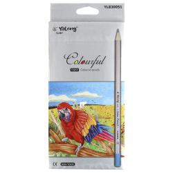 Карандаши цветные 12 цветов, дерево, шестигранный, картонная коробка ZOO-6 Yalong YL 830051-12