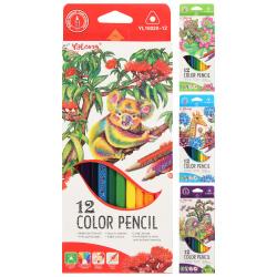 Карандаши цветные 12 цветов, дерево, трехгранный, картонная коробка ZOO Yalong YL 10020-12